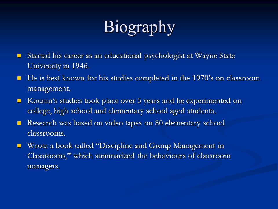 Biography Started his career as an educational psychologist at Wayne State University in 1946. Started his career as an educational psychologist at Wa