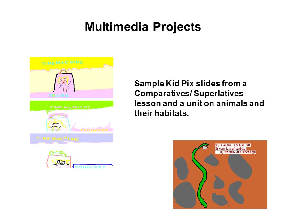 Sample Kid Pix slides from a Comparatives/ Superlatives lesson and a unit on animals and their habitats.