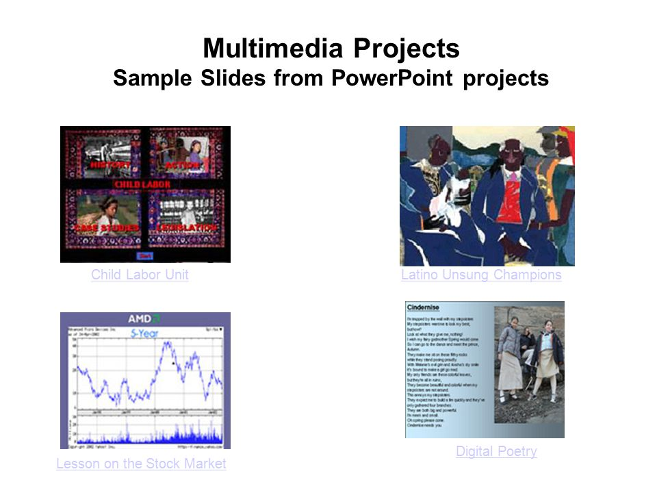 Child Labor UnitLatino Unsung Champions Digital Poetry Lesson on the Stock Market Multimedia Projects Sample Slides from PowerPoint projects