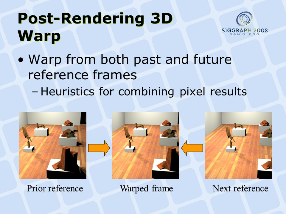 Post-Rendering 3D Warp Warp from both past and future reference frames –Heuristics for combining pixel results Prior referenceWarped frameNext reference