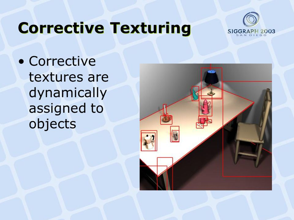 Corrective Texturing Corrective textures are dynamically assigned to objects