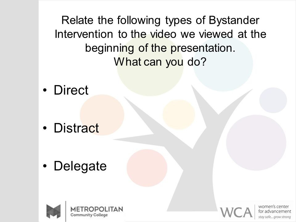 Relate the following types of Bystander Intervention to the video we viewed at the beginning of the presentation.