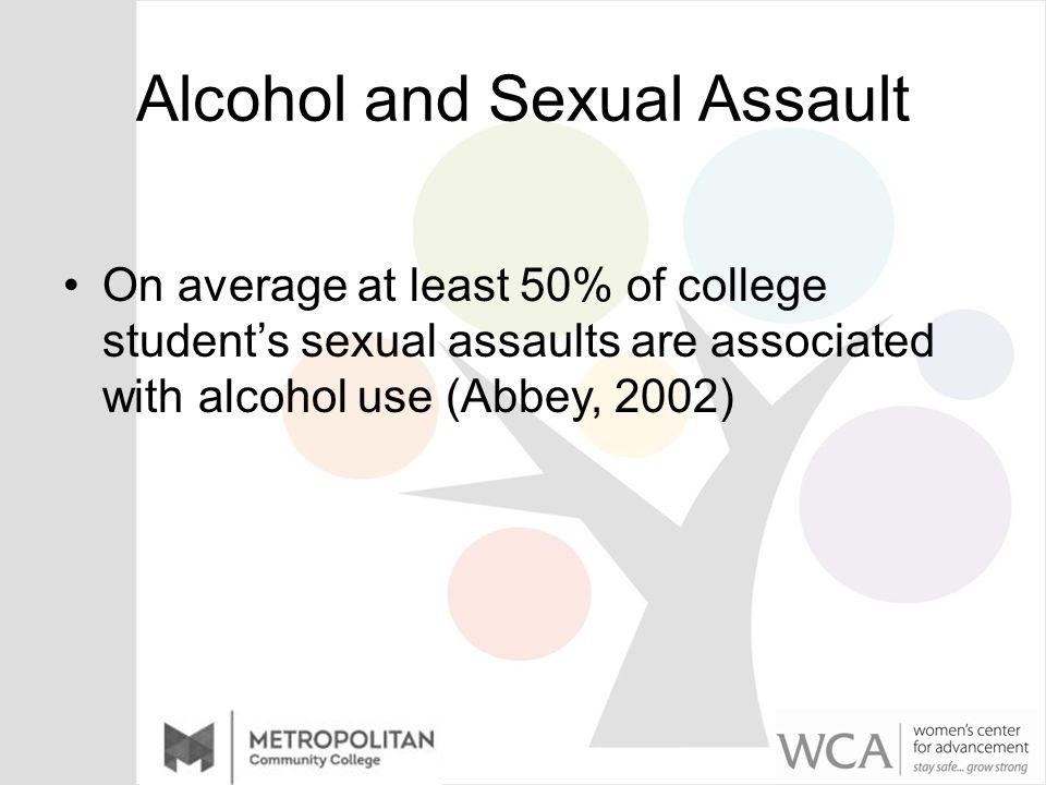 Alcohol and Sexual Assault On average at least 50% of college student's sexual assaults are associated with alcohol use (Abbey, 2002)
