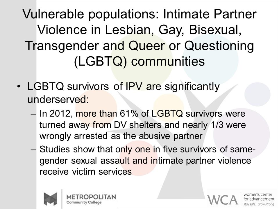 Vulnerable populations: Intimate Partner Violence in Lesbian, Gay, Bisexual, Transgender and Queer or Questioning (LGBTQ) communities LGBTQ survivors of IPV are significantly underserved: –In 2012, more than 61% of LGBTQ survivors were turned away from DV shelters and nearly 1/3 were wrongly arrested as the abusive partner –Studies show that only one in five survivors of same- gender sexual assault and intimate partner violence receive victim services