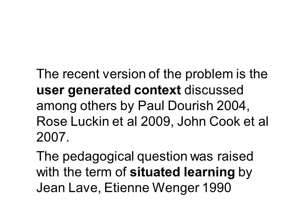 The theoretical target of this presentation is to apply Lew Vygotsky's concept of the zone of proximal development of the 1930s: *to combine user generated contexts as cultural products *with child development and *with learning of the school.