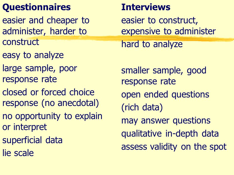 Questionnaires easier and cheaper to administer, harder to construct easy to analyze large sample, poor response rate closed or forced choice response (no anecdotal) no opportunity to explain or interpret superficial data lie scale Interviews easier to construct, expensive to administer hard to analyze smaller sample, good response rate open ended questions (rich data) may answer questions qualitative in-depth data assess validity on the spot