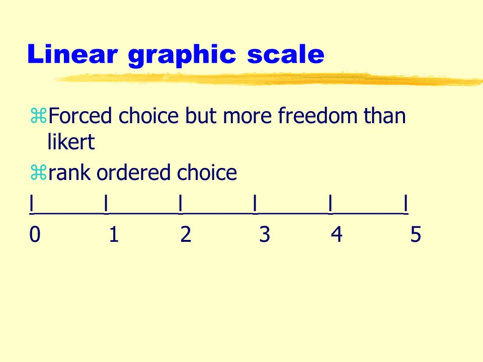 Linear graphic scale zForced choice but more freedom than likert zrank ordered choice l______l______l______l______l______l 0 1 2 3 4 5