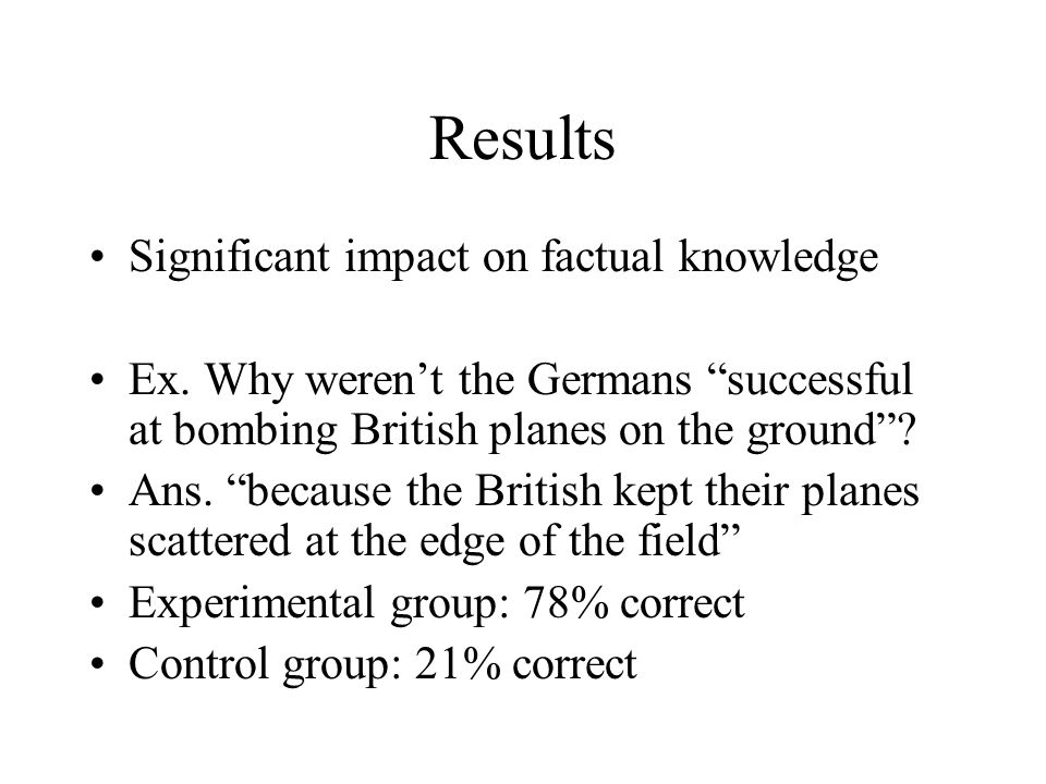 Results Significant impact on factual knowledge Ex.