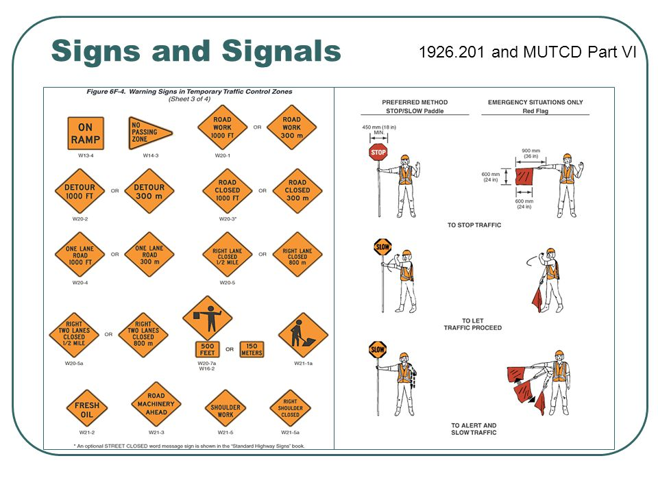 Signs and Signals 1926.201 and MUTCD Part VI