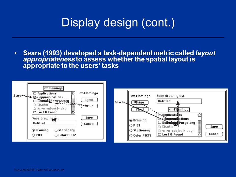 Copyright © 2005, Pearson Education, Inc. Display design (cont.) Sears (1993) developed a task-dependent metric called layout appropriateness to asses