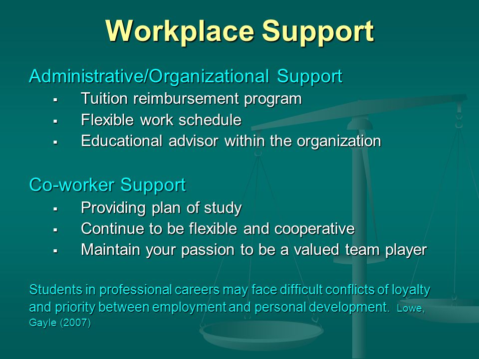 Workplace Support Administrative/Organizational Support  Tuition reimbursement program  Flexible work schedule  Educational advisor within the organization Co-worker Support  Providing plan of study  Continue to be flexible and cooperative  Maintain your passion to be a valued team player Students in professional careers may face difficult conflicts of loyalty and priority between employment and personal development.