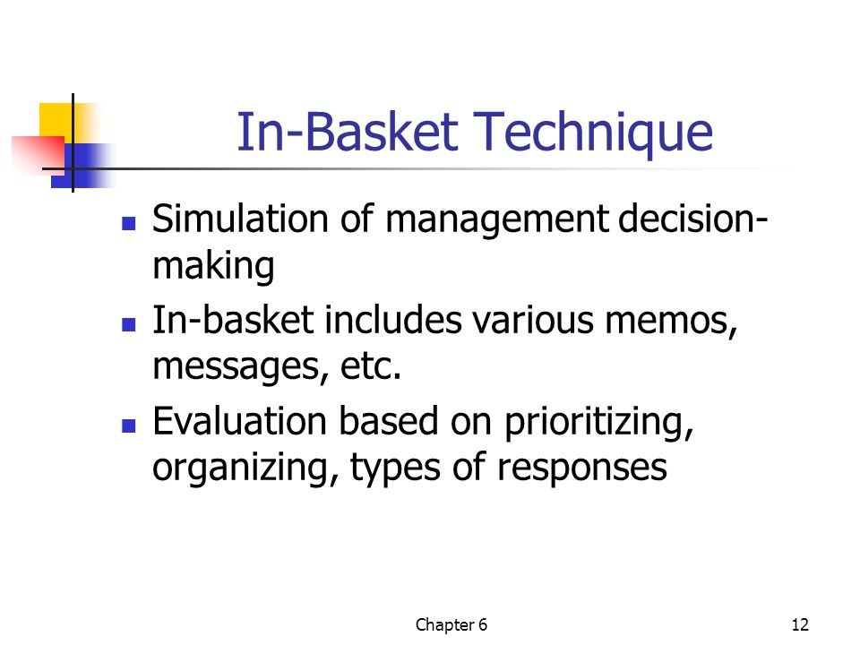 Chapter 612 In-Basket Technique Simulation of management decision- making In-basket includes various memos, messages, etc.