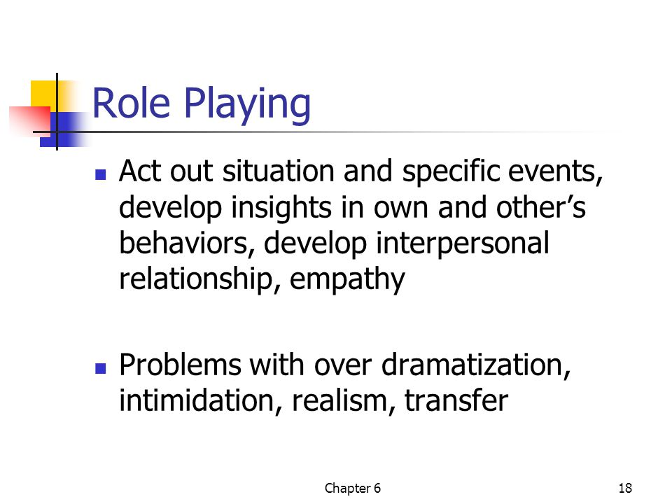 Chapter 618 Role Playing Act out situation and specific events, develop insights in own and other's behaviors, develop interpersonal relationship, emp