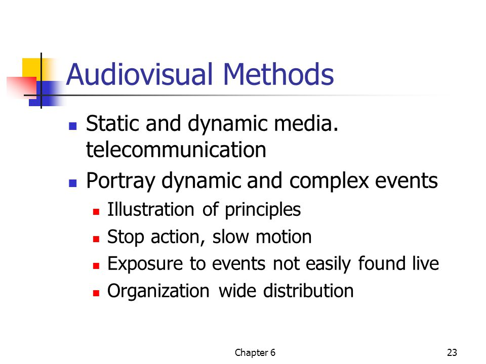 Chapter 623 Audiovisual Methods Static and dynamic media.