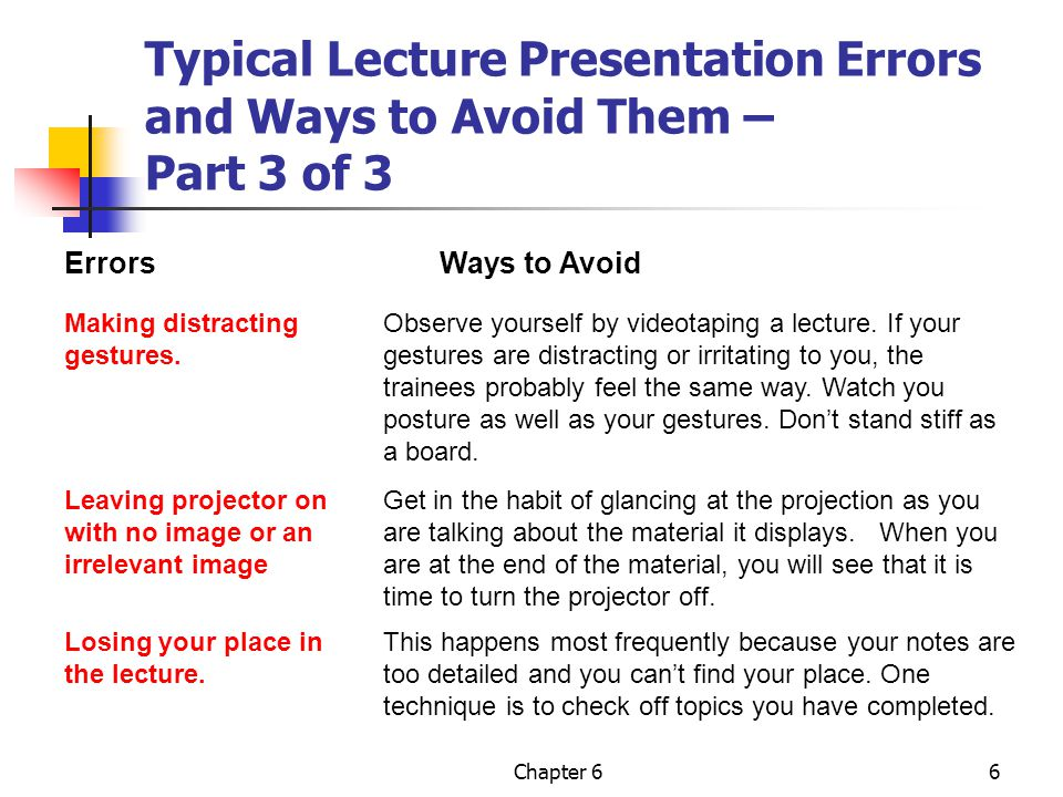 Chapter 66 Typical Lecture Presentation Errors and Ways to Avoid Them – Part 3 of 3 Errors Ways to Avoid Making distracting Observe yourself by videotaping a lecture.