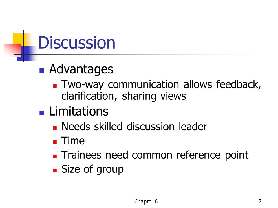 Chapter 67 Discussion Advantages Two-way communication allows feedback, clarification, sharing views Limitations Needs skilled discussion leader Time