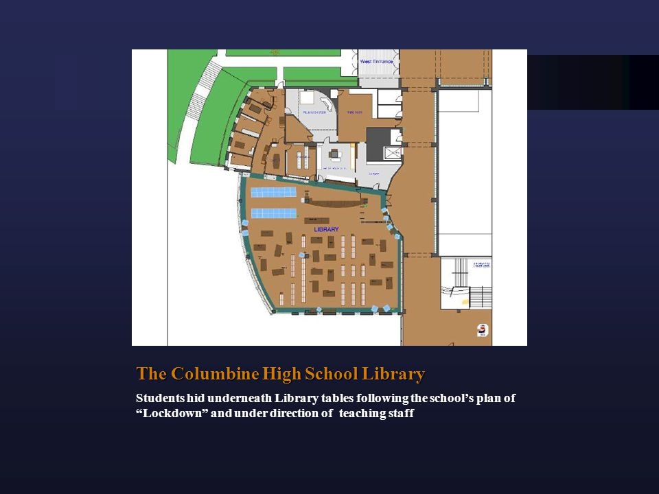 The Columbine High School Library Students hid underneath Library tables following the school's plan of Lockdown and under direction of teaching staff