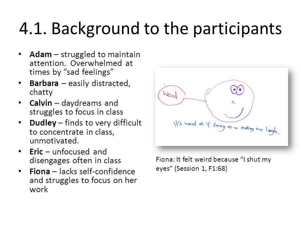 4.1. Background to the participants Adam – struggled to maintain attention.
