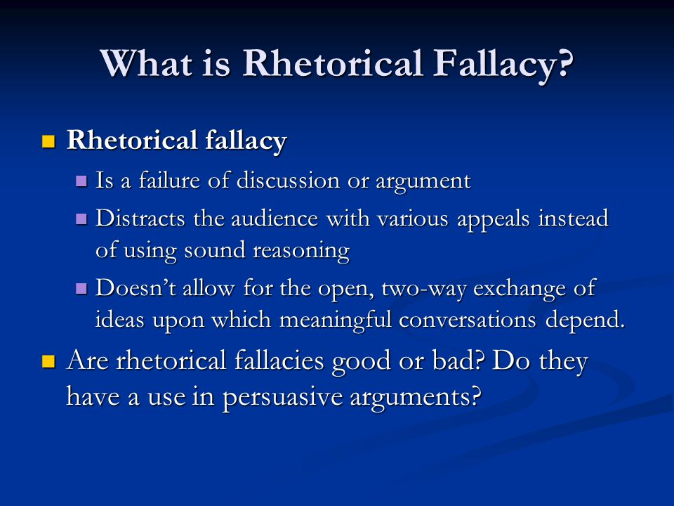 Three Types of Fallacy They can be divided into three categories: They can be divided into three categories: Emotional fallacies Emotional fallacies unfairly appeals to the audience's emotions unfairly appeals to the audience's emotions Ethical fallacies Ethical fallacies unreasonably advances the writer's authority or character unreasonably advances the writer's authority or character Logical fallacies Logical fallacies Inaccurately cites reasoning, or cites reasoning that is false Inaccurately cites reasoning, or cites reasoning that is false