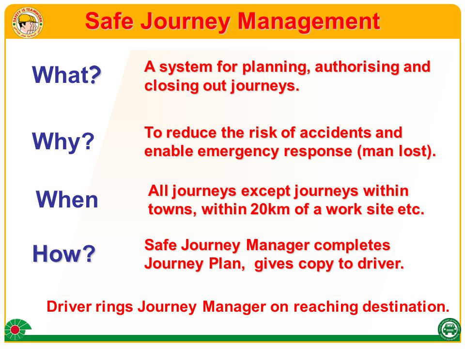 Safe Journey Management A system for planning, authorising and closing out journeys.