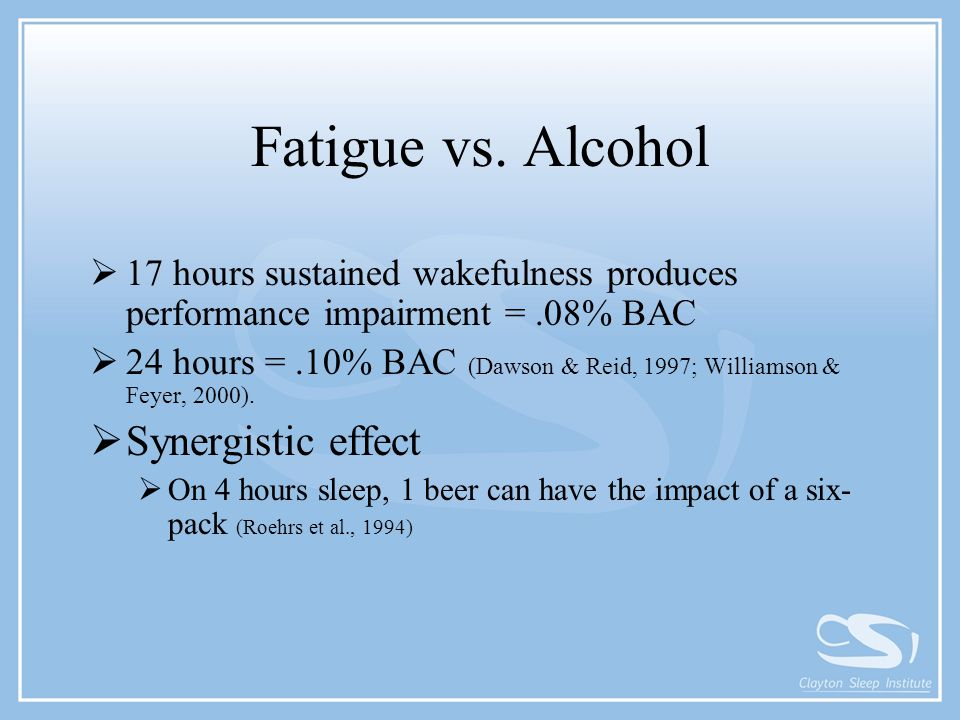 Fatigue vs. Alcohol  17 hours sustained wakefulness produces performance impairment =.08% BAC  24 hours =.10% BAC (Dawson & Reid, 1997; Williamson &