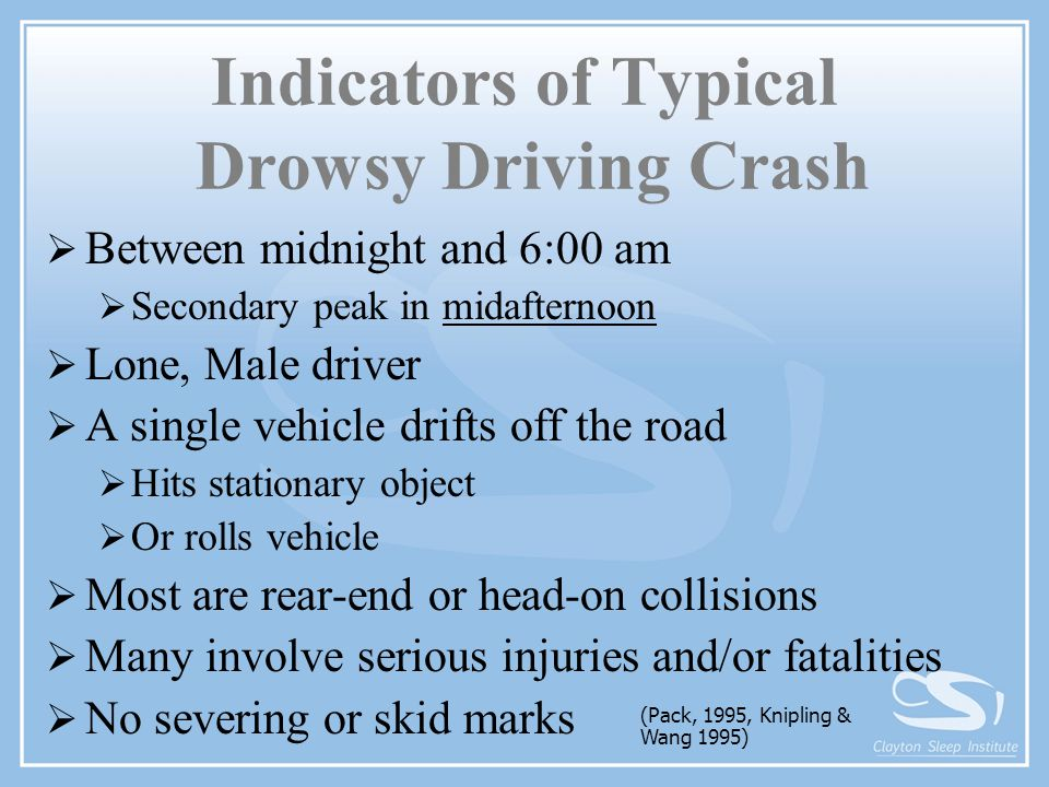 Indicators of Typical Drowsy Driving Crash  Between midnight and 6:00 am  Secondary peak in midafternoon  Lone, Male driver  A single vehicle drif