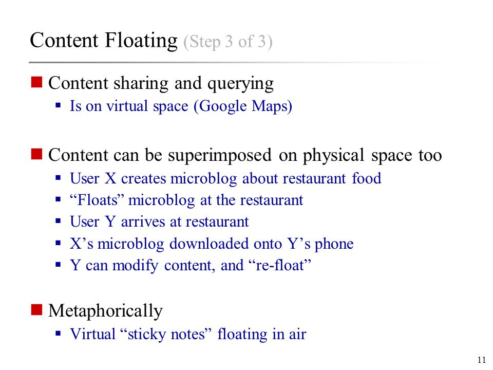 11 Content Floating (Step 3 of 3) Content sharing and querying  Is on virtual space (Google Maps) Content can be superimposed on physical space too  User X creates microblog about restaurant food  Floats microblog at the restaurant  User Y arrives at restaurant  X's microblog downloaded onto Y's phone  Y can modify content, and re-float Metaphorically  Virtual sticky notes floating in air
