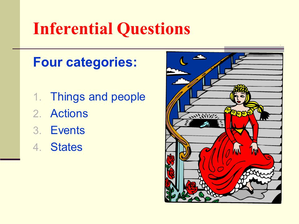 Inferential Questions Four categories: 1. Things and people 2. Actions 3. Events 4. States