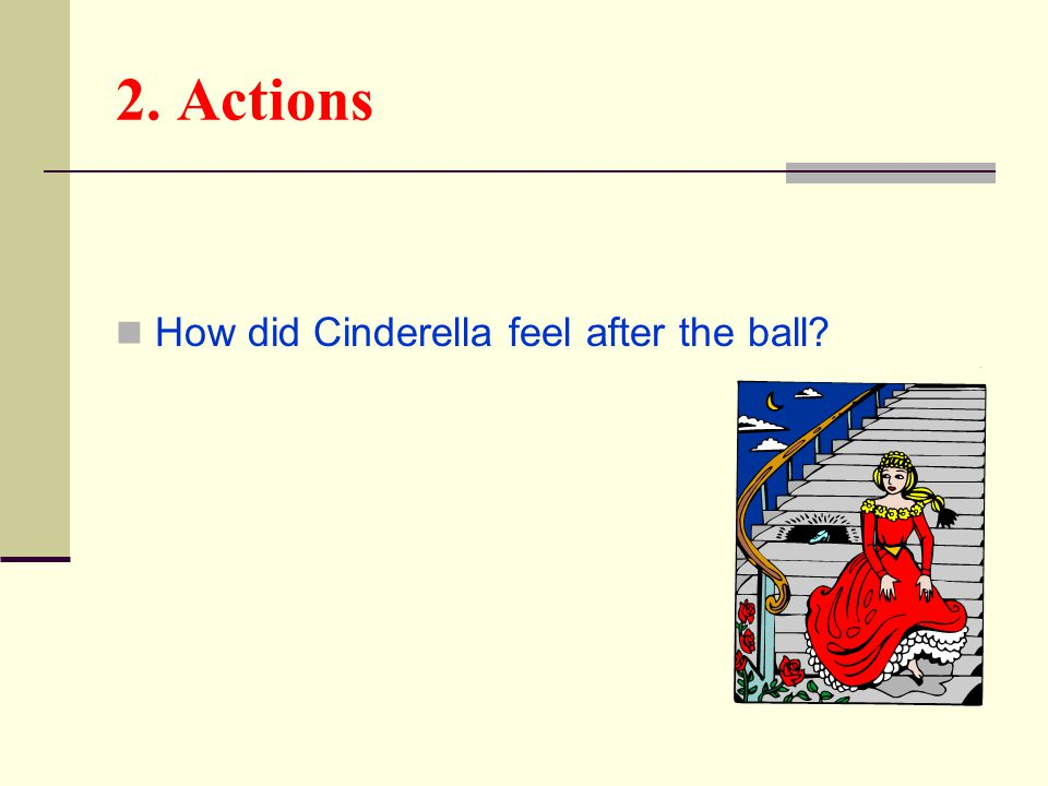2. Actions How did Cinderella feel after the ball?