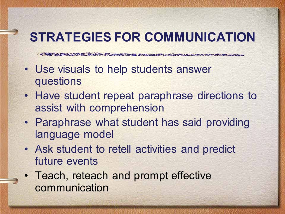 STRATEGIES FOR COMMUNICATION Use visuals to help students answer questions Have student repeat paraphrase directions to assist with comprehension Paraphrase what student has said providing language model Ask student to retell activities and predict future events Teach, reteach and prompt effective communication
