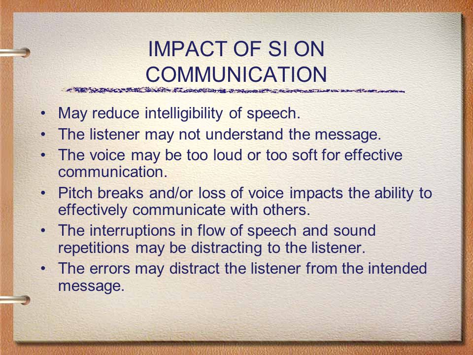 IMPACT OF SI ON COMMUNICATION May reduce intelligibility of speech.