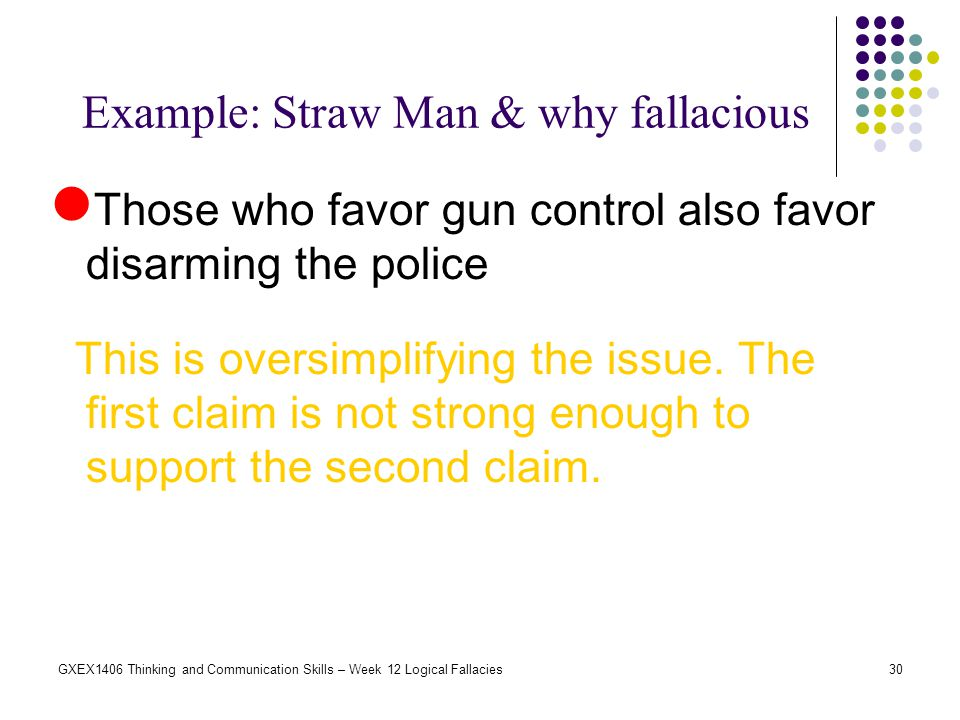 30GXEX1406 Thinking and Communication Skills – Week 12 Logical Fallacies Example: Straw Man & why fallacious Those who favor gun control also favor di