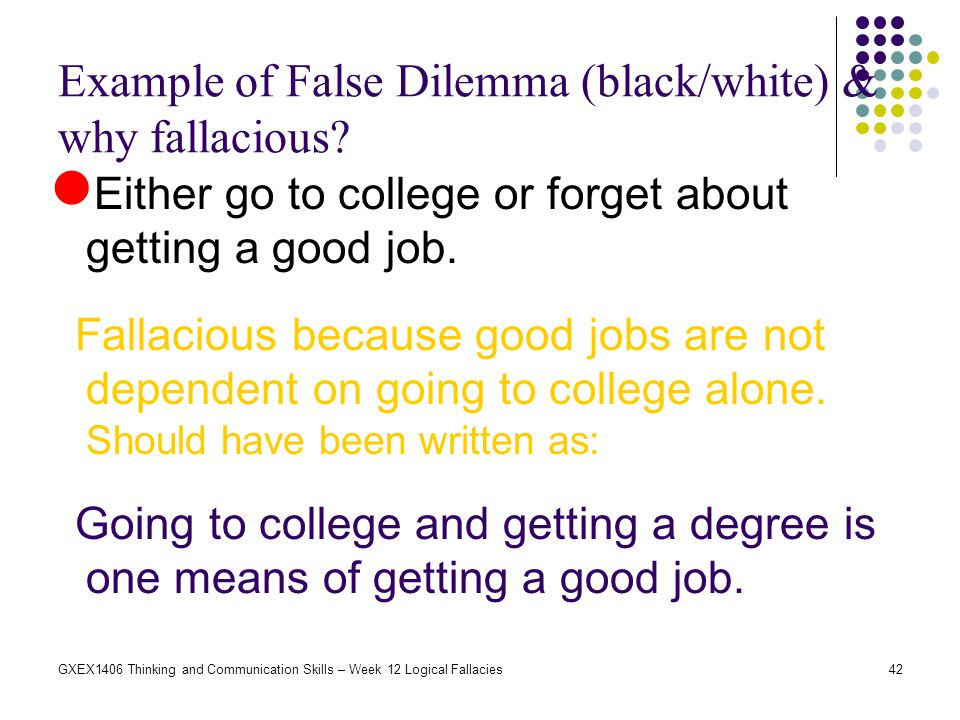 42GXEX1406 Thinking and Communication Skills – Week 12 Logical Fallacies Example of False Dilemma (black/white) & why fallacious? Either go to college