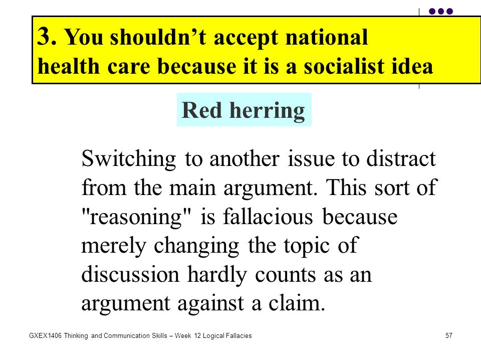 57GXEX1406 Thinking and Communication Skills – Week 12 Logical Fallacies 3. You shouldn't accept national health care because it is a socialist idea R