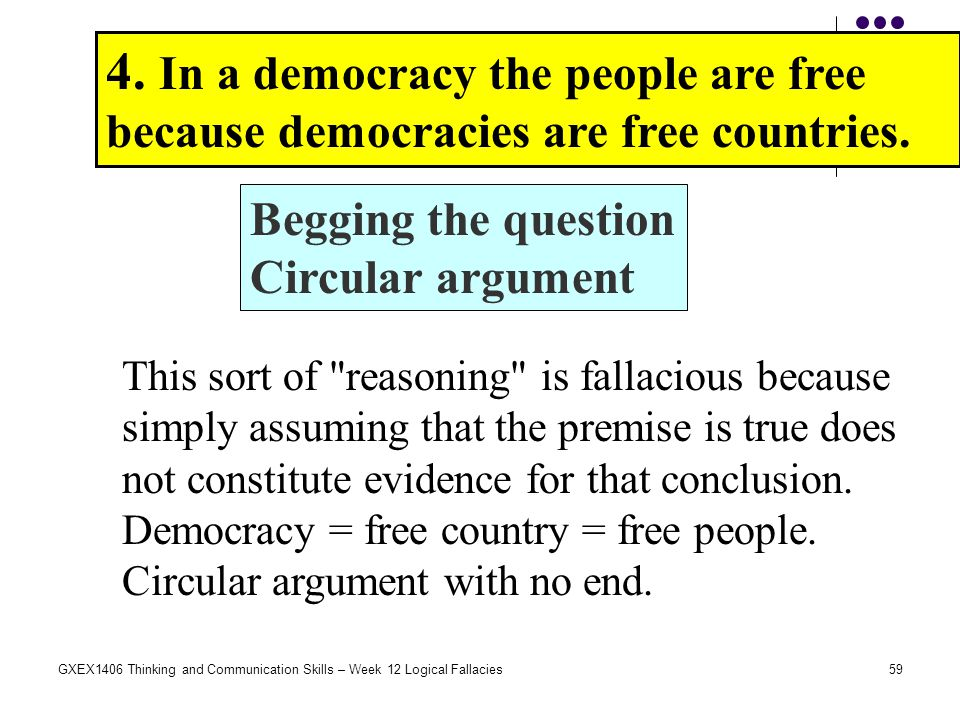 59GXEX1406 Thinking and Communication Skills – Week 12 Logical Fallacies 4. In a democracy the people are free because democracies are free countries.