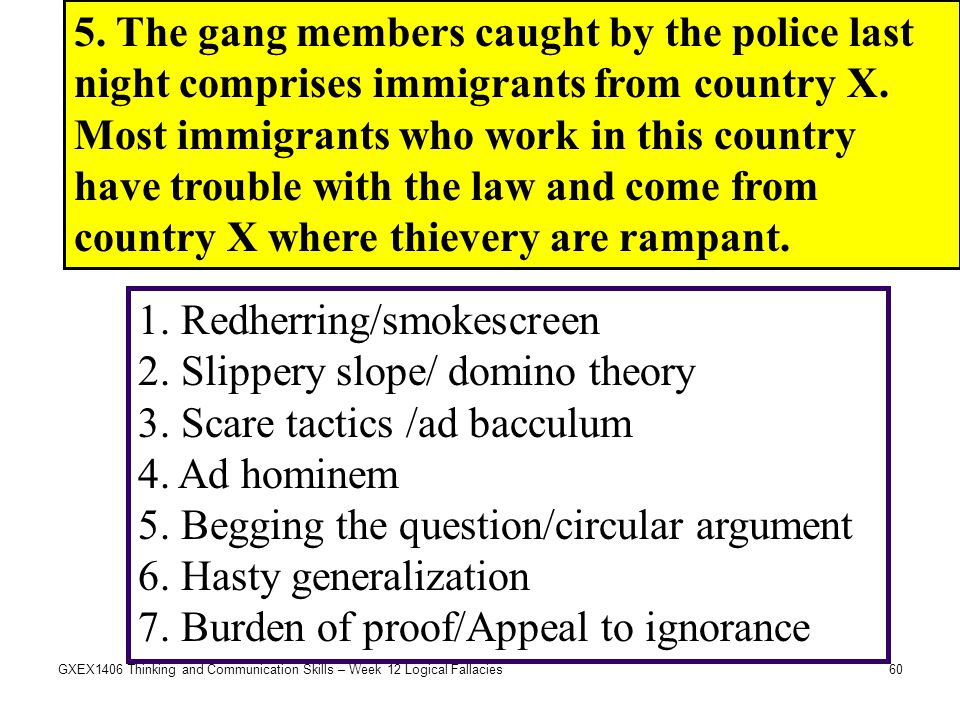 60GXEX1406 Thinking and Communication Skills – Week 12 Logical Fallacies 5. The gang members caught by the police last night comprises immigrants from