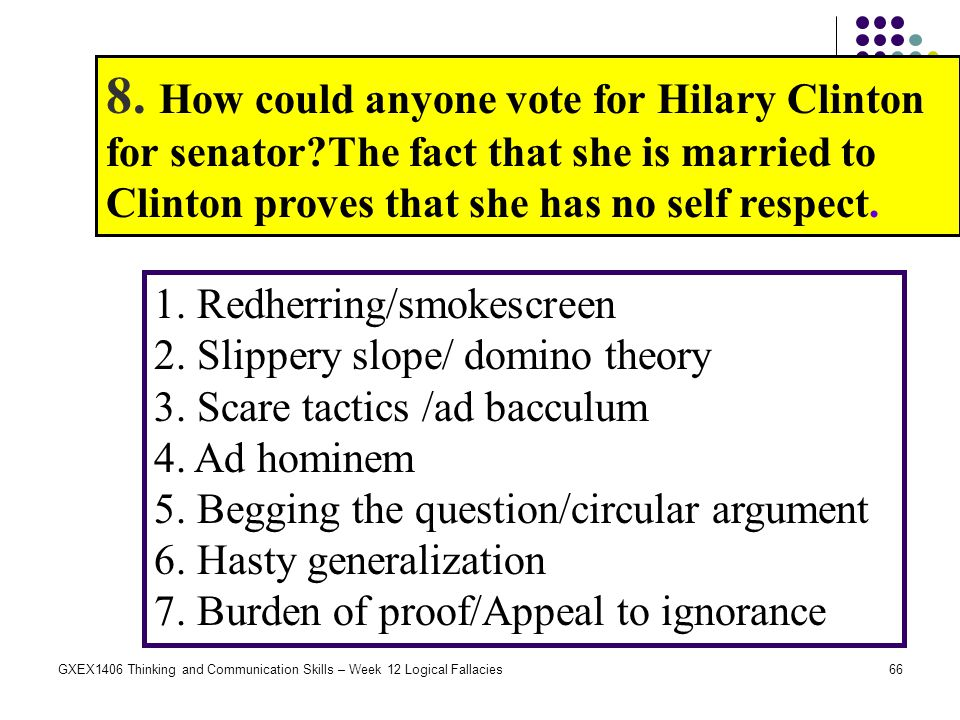 66GXEX1406 Thinking and Communication Skills – Week 12 Logical Fallacies 8. How could anyone vote for Hilary Clinton for senator?The fact that she is