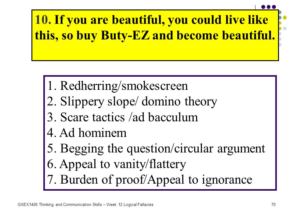 70GXEX1406 Thinking and Communication Skills – Week 12 Logical Fallacies 10. If you are beautiful, you could live like this, so buy Buty-EZ and become