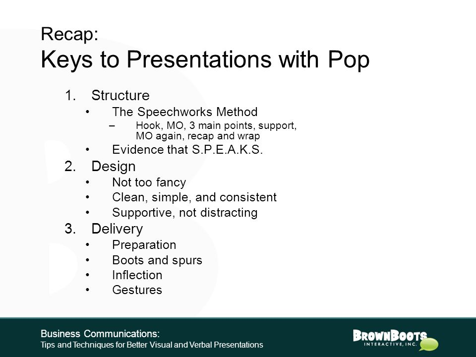 RECAP AND WRAP Business Communications: Tips and Techniques for Better Visual and Verbal Presentations