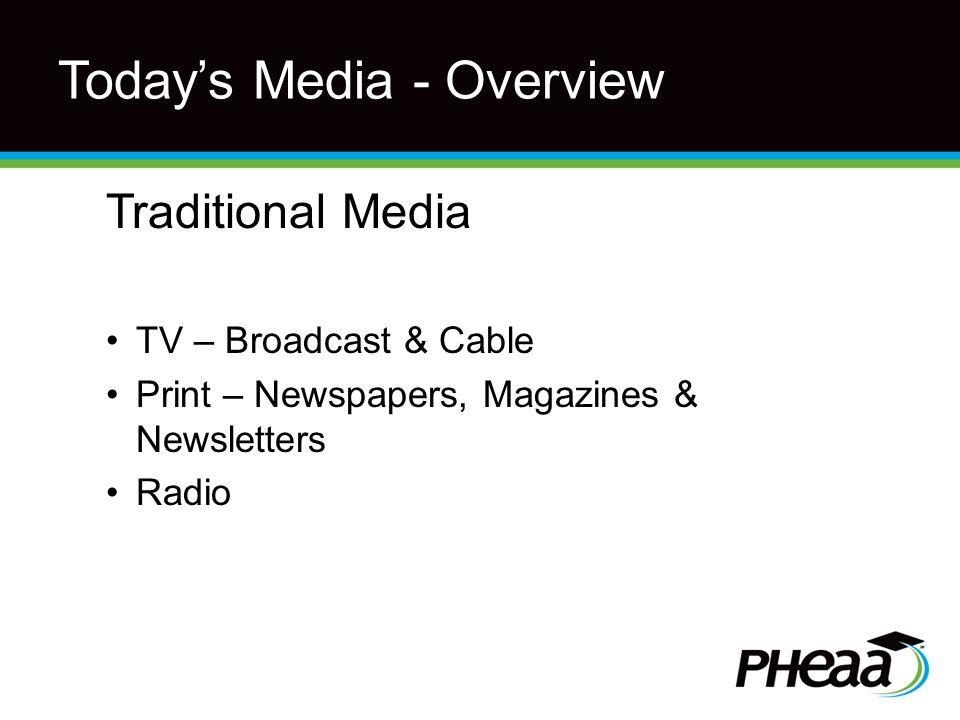 Today's Media - Overview Traditional Media TV – Broadcast & Cable Print – Newspapers, Magazines & Newsletters Radio