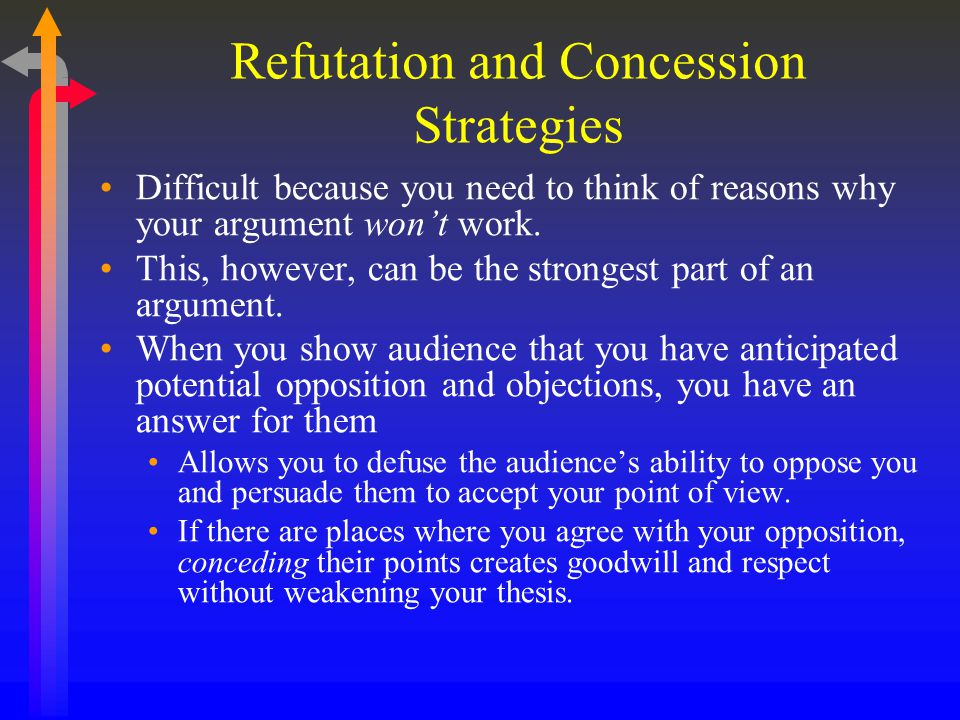 Refutation and Concession Strategies Difficult because you need to think of reasons why your argument won't work. This, however, can be the strongest