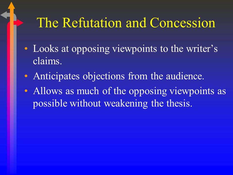 What does Possible concession toward opposing argument mean when you are writing an essay?