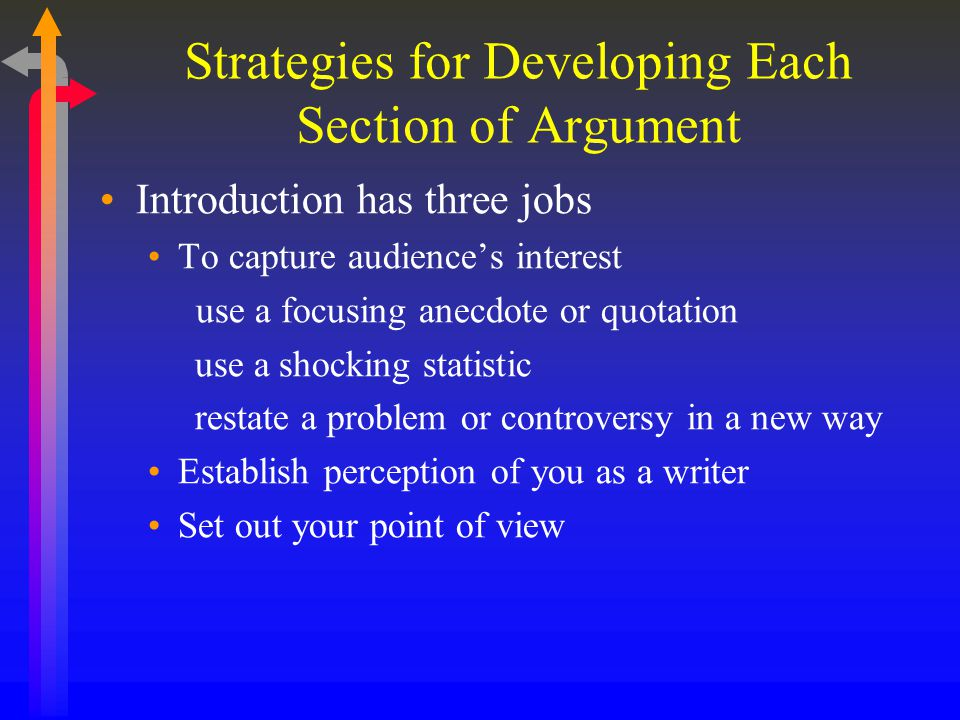 Strategies for Developing Each Section of Argument Introduction has three jobs To capture audience's interest use a focusing anecdote or quotation use