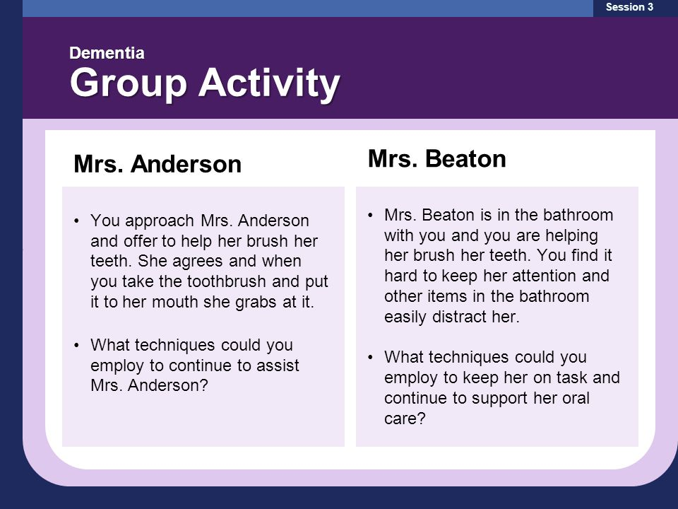 Session 3 Dementia Group Activity Mrs. Anderson You approach Mrs.