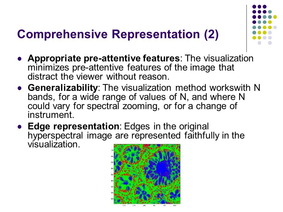 Comprehensive Representation (2) Appropriate pre-attentive features: The visualization minimizes pre-attentive features of the image that distract the