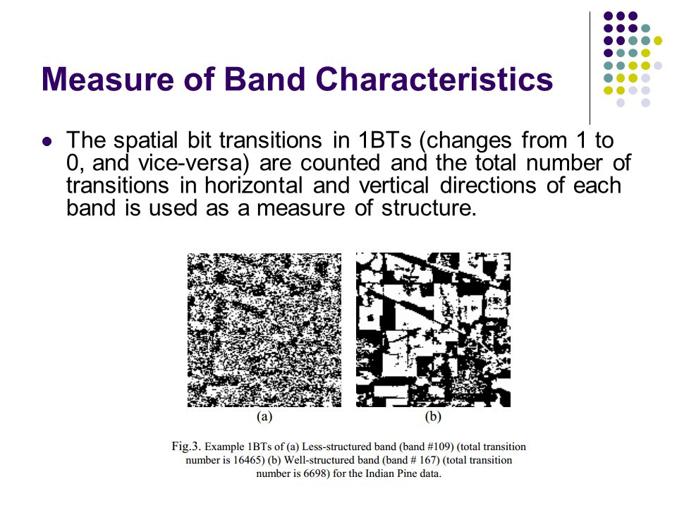 Measure of Band Characteristics The spatial bit transitions in 1BTs (changes from 1 to 0, and vice-versa) are counted and the total number of transiti