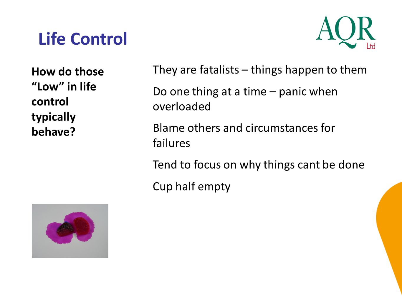Life Control How do those Low in life control typically behave.