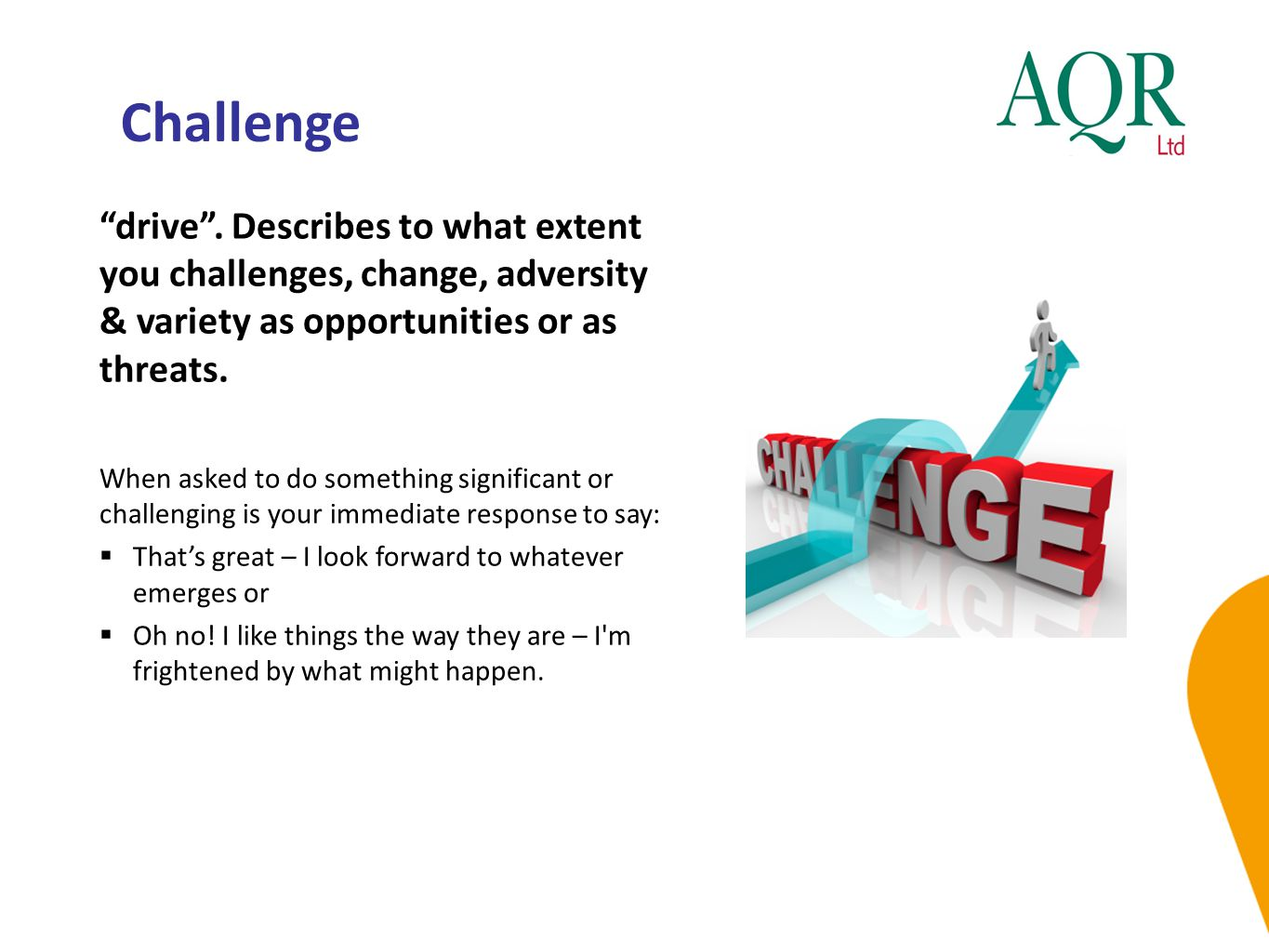 """Challenge """"drive"""". Describes to what extent you challenges, change, adversity & variety as opportunities or as threats. When asked to do something sig"""