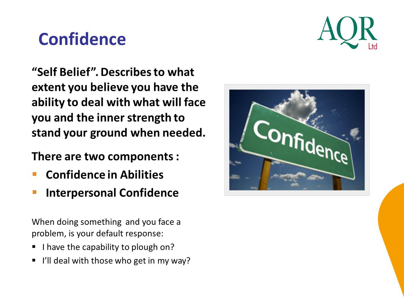 """Confidence """"Self Belief"""". Describes to what extent you believe you have the ability to deal with what will face you and the inner strength to stand yo"""
