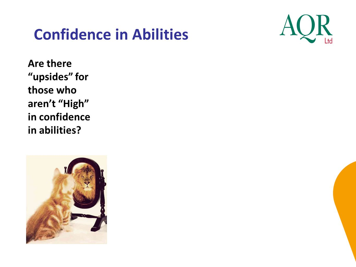 """Confidence in Abilities Are there """"upsides"""" for those who aren't """"High"""" in confidence in abilities?"""